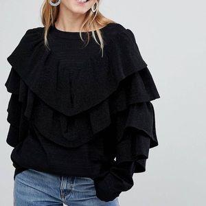 NWOT Asos Monki Ruffle Sweater